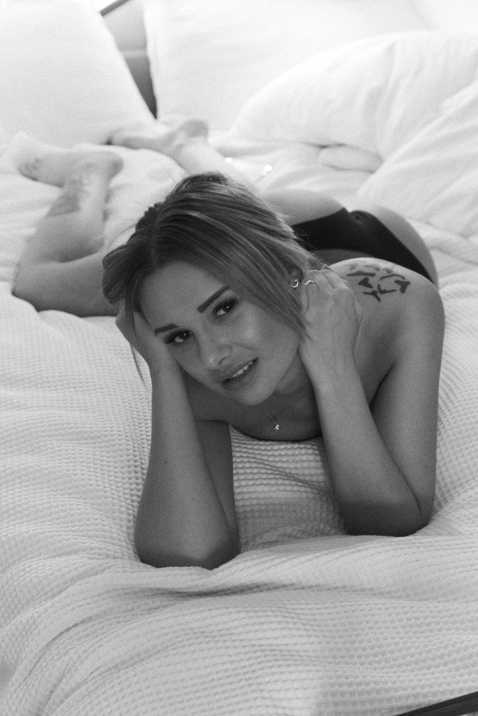 Monica16 B&W lying down