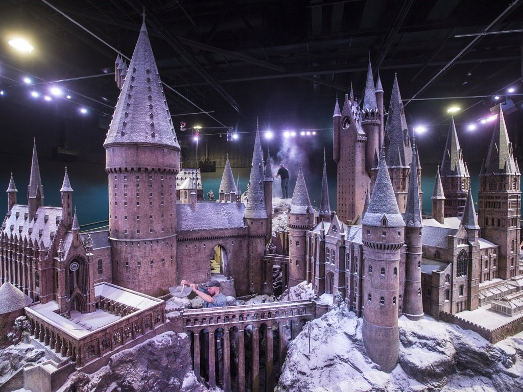 Hogwarts Castle appears to be covered in snow by giants at the Warner Bros Making of Harry Potter st
